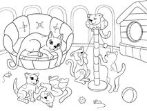 Childrens coloring book cartoon family on nature. Mom cat and kittens children. For adults vector illustration. Anti-stress for adult. Black and white lines Royalty Free Stock Photo