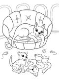 Childrens coloring book cartoon family on nature. Mom cat and kittens children. For adults raster illustration. Anti-stress for adult. Black and white lines vector illustration