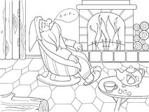 Childrens coloring book cartoon. The interior of the house, the fairy dwarf sleeps near the fireplace. For adults raster illustration. Anti-stress for adult Stock Photos