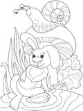 Childrens coloring cartoon animal friends in nature. Rabbit under a mushroom and snail. Anti-stress for adult. Black and white lines Royalty Free Stock Photos