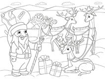 Childrens coloring cartoon animal friends in nature. Santa claus on the north pole next to sleighs and magical deer Stock Photo