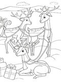 Childrens coloring cartoon animal friends in nature. Santa claus on the north pole next to sleighs and magical deer Royalty Free Stock Photography
