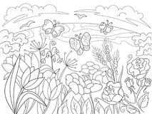 Childrens coloring cartoon Glade with flowers in nature. For adults vector illustration. Anti-stress for adult. Black and white lines Royalty Free Stock Image