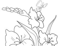 Childrens coloring cartoon Glade with flowers in nature. For adults vector illustration. Anti-stress for adult. Black and white lines Stock Photography