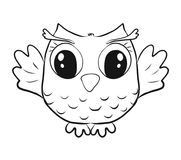 Childrens coloring, funny little owl.  royalty free illustration