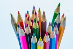 Coloured pencils sharpened ready for use royalty free stock photo