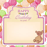 Childrens congratulatory background with a birthday for girls. Stock Images