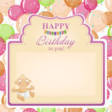 Childrens congratulatory background with a birthday for girls. Stock Photography