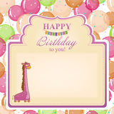 Childrens congratulatory background with a pink giraffe. Stock Image