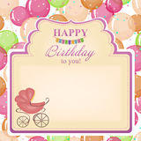 Childrens congratulatory background with a pink stroller. Royalty Free Stock Images