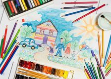 Childrens Creation With Sketch of Family,Paints And Pencils Royalty Free Stock Photos