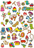 Childrens day. A variety of childrens toys royalty free illustration