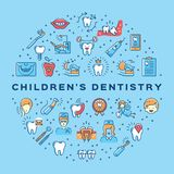 Childrens dentistry circle infographics Stomatology Dental care thin line art icons Royalty Free Stock Photography