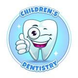 Childrens dentistry company logo element. Cartoon tooth character thumbs ups. Vector illustration vector illustration
