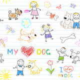 Childrens and dogs Royalty Free Stock Image