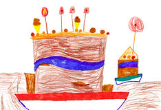 Childrens drawing. Big cartoon birthday cake Royalty Free Stock Photos