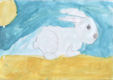 Childrens drawing - a bunny on a clearing. Children`s drawing - a bunny on a clearing royalty free illustration