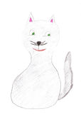 Childrens drawing cat Royalty Free Stock Image