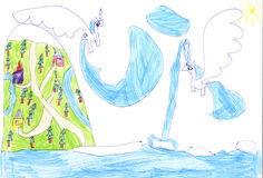 Childrens drawing Stock Images