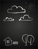Childrens drawing of clouds in chalk Royalty Free Stock Photos