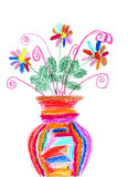 Childrens drawing of a colorful bouquet Stock Images