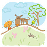 Childrens drawing of dogs cats and mouse summer Royalty Free Stock Photo