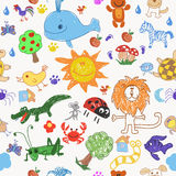 Childrens drawing doodle animals trees and sun seamless pattern. Stock Images