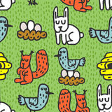 Childrens drawing forest animals seamless pattern. Rabbits ornam Royalty Free Stock Photos