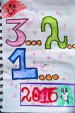 Childrens Drawing. Goodbye 2015. Drawing and painting with crayons prepared by a child, shows the countdown to welcome the year 2016 Royalty Free Stock Photo