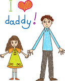 Kids drawing. Fathers day. Stock Photo