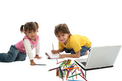 Childrens drawing together Royalty Free Stock Photos