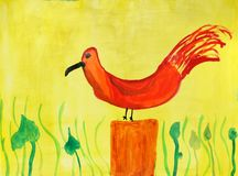 Childrens drawings. Bird  in a multi-colored childrens drawings Stock Image