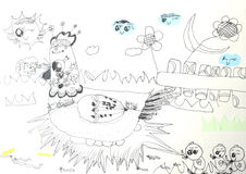 Childrens drawings Royalty Free Stock Images