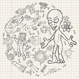 Childrens drawings coloring_1_pages on space theme, science and the emergence of life on earth, in the style of Doodle. Vector childrens drawings coloring pages vector illustration