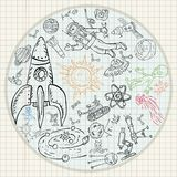 Childrens drawings coloring_3_pages on space theme, science and the emergence of life on earth, in the style of Doodle. Vector childrens drawings coloring pages royalty free illustration
