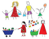 Childrens drawings with the family and the child with food in supermarket Royalty Free Stock Images