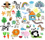 Childrens drawings Stock Photography