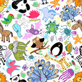 Childrens drawings seamless pattern with animals Royalty Free Stock Photos