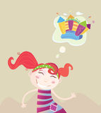 Childrens dream. Small girl is dreaming about new toy vector illustration