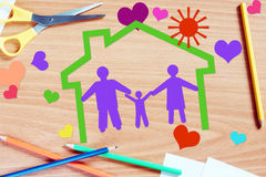 Childrens dreams about happy family Royalty Free Stock Photo