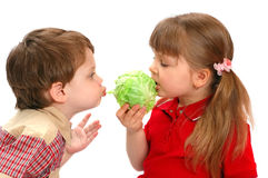 Childrens eat cabbage on a white Royalty Free Stock Photo