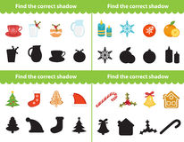 Childrens educational game, find correct shadow silhouette. Items for  the right shade. Vector illustration. Childrens educational game, find correct shadow Stock Photos
