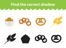 Childrens educational game, find correct shadow silhouette. Vector illustration. Childrens educational game, find correct shadow silhouette. Baking set the game Stock Images