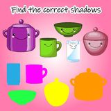 Childrens educational game, find the right shadow silhouette. Kitchen, set up the game to find the right shade. Vector. Children s educational game, find the vector illustration