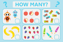 Childrens educational logic game. Mathematical task. How many. Vector illustration. Stock Photos