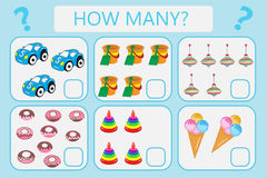 Childrens educational logic game. Mathematical task. How many. Vector illustration. Royalty Free Stock Images