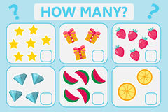 Childrens educational logic game. Mathematical task. How many. Vector illustration. Stock Image