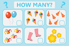 Childrens educational logic game. Mathematical task. How many. Vector illustration. Royalty Free Stock Image