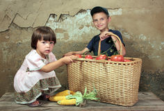 Childrens of the farmer. Childrens of the farmer with a basket of tomatoes Stock Image