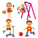 Childrens fun in summer. On white background Royalty Free Stock Image